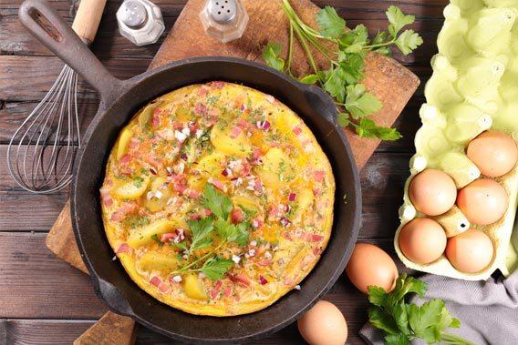 Æggekage med kartofler